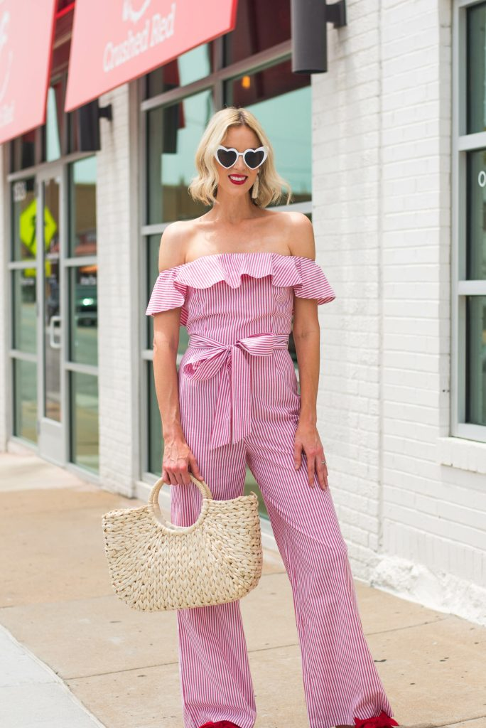 off the shoulder jumpsuit with ruffle detail