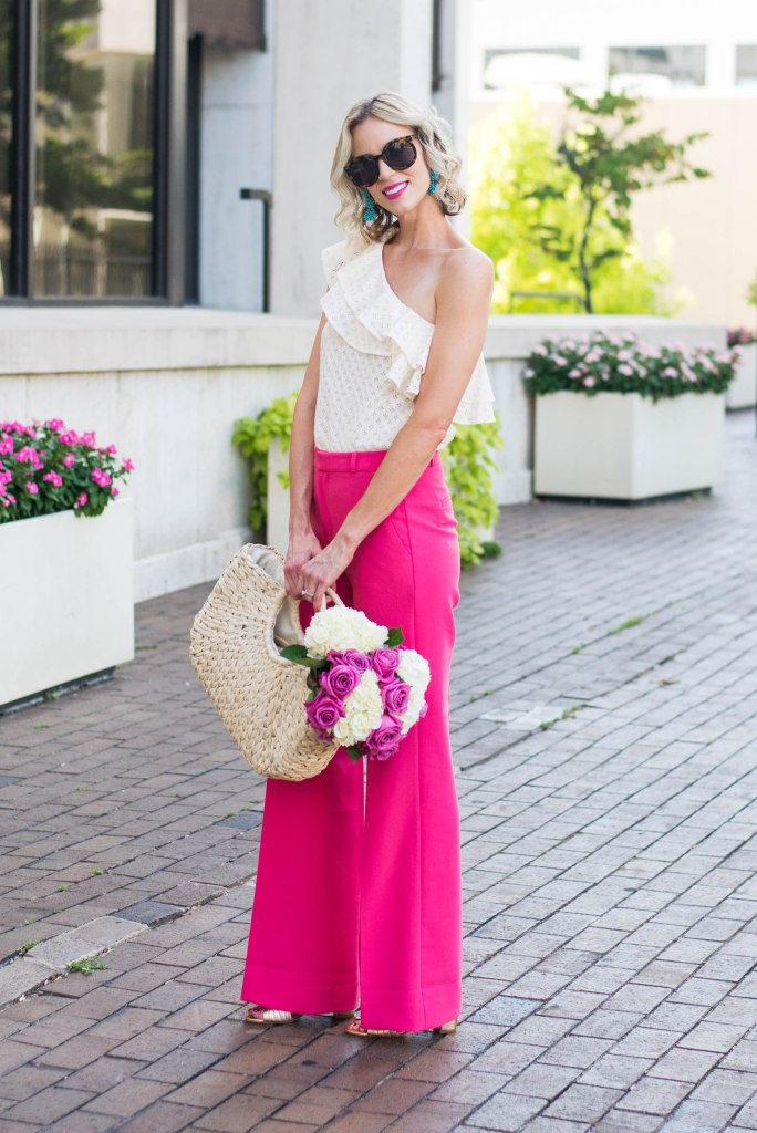 one shoulder top with wide leg pink pants