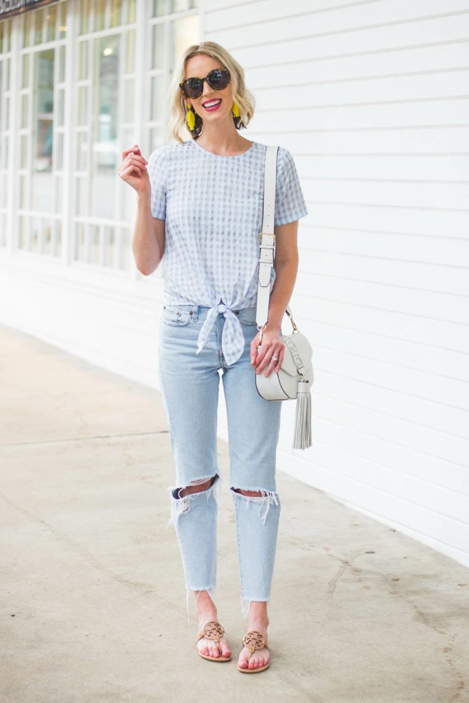 cute blue gingham top with tie front detail
