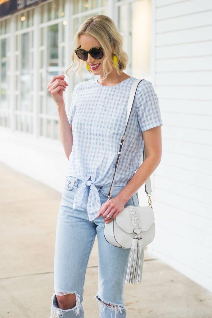 cutest top with tie front detail