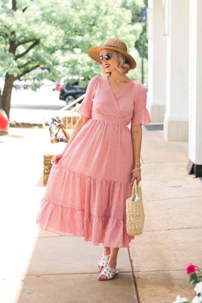 breezy gimgham midi dress
