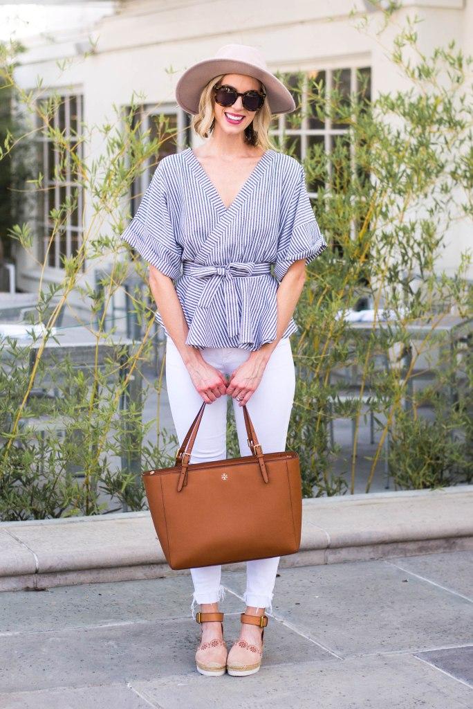 v-neck kimono top with white jeans