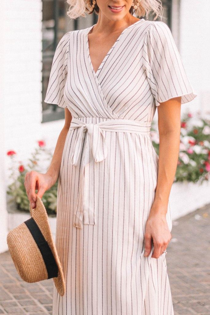 v-neck striped dress with tie waist