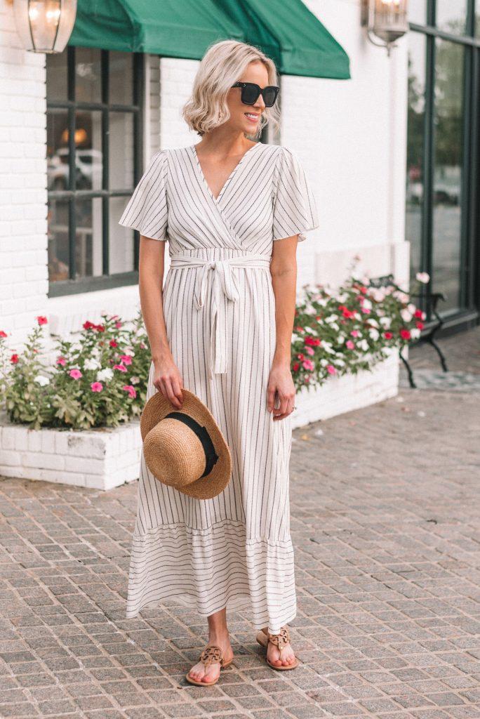 white maxi dress with black stripes