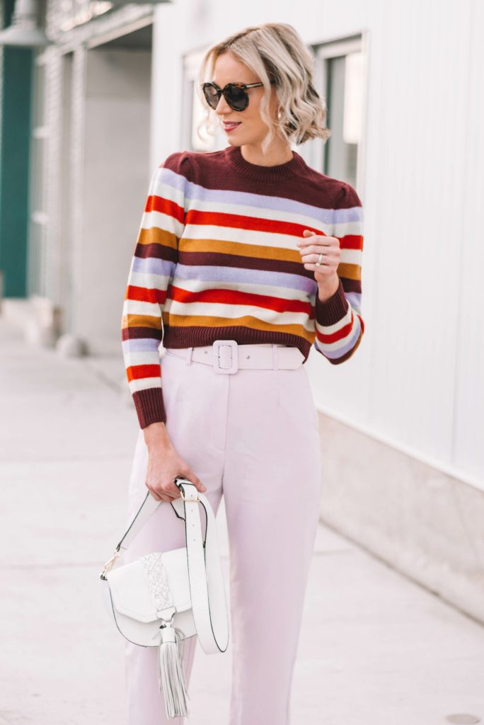 retro striped sweater with high waisted lander pants