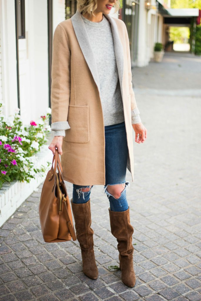 neutral fall outfit made up of classic wardrobe pieces