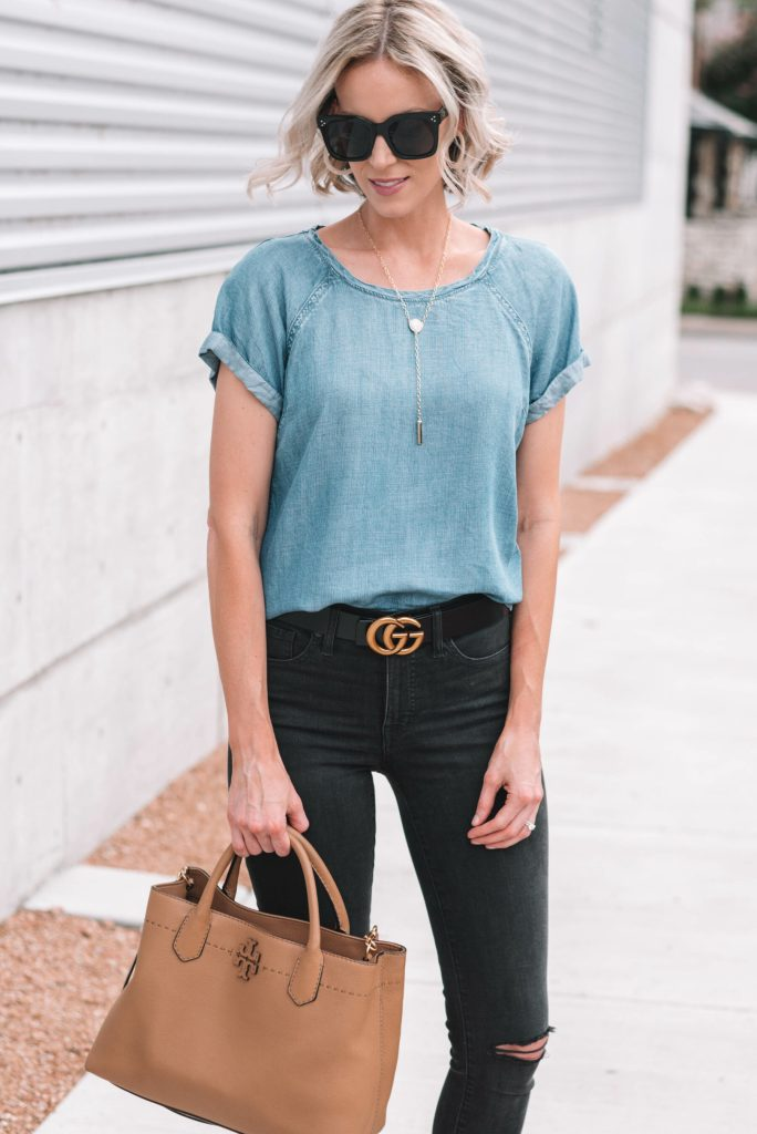 chambray top, gucci belt, black jeans