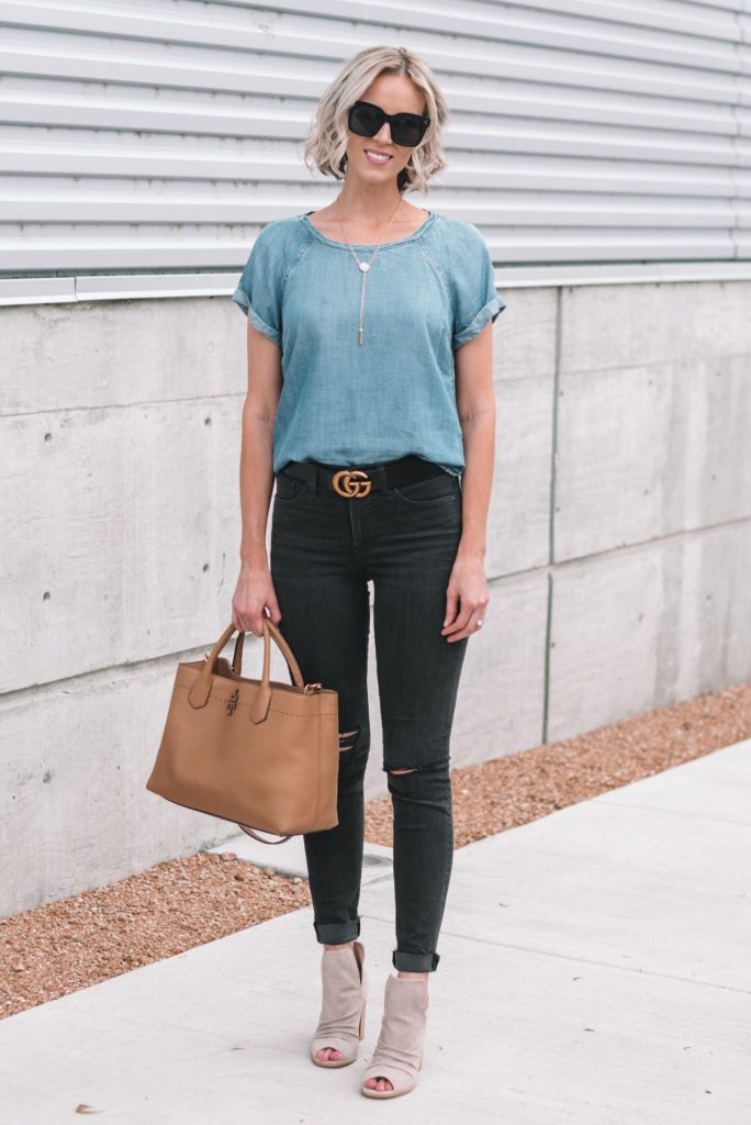 great black distressed high waisted denim with chambray shirt and peep toe booties