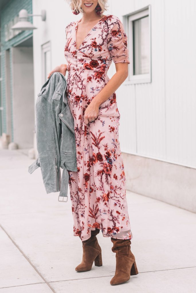 gorgeous blush maxi dress with floral detailing, suede boots, and suede moto jacket