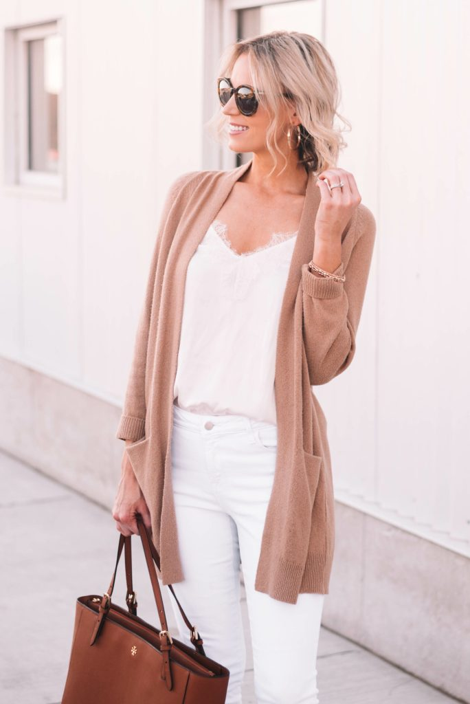 white lace cami with tan cardigan
