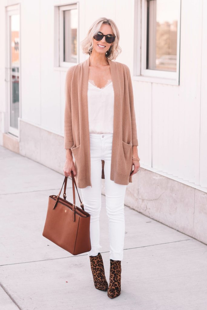 white after labor day - white jeans and cami with tan cardigan