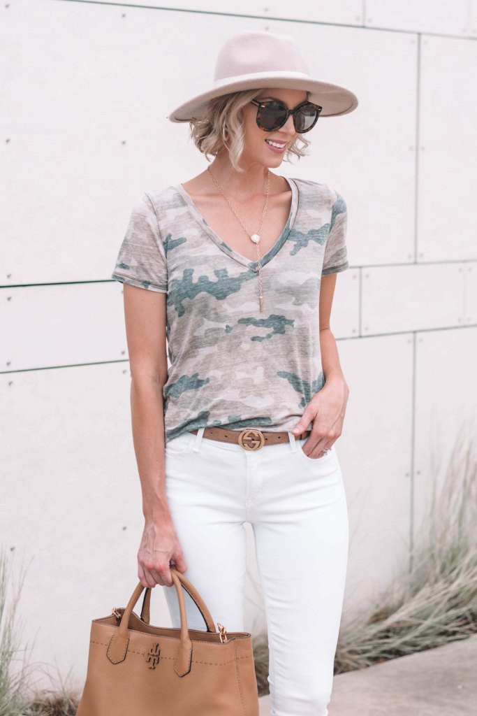 camo tee with white jeans