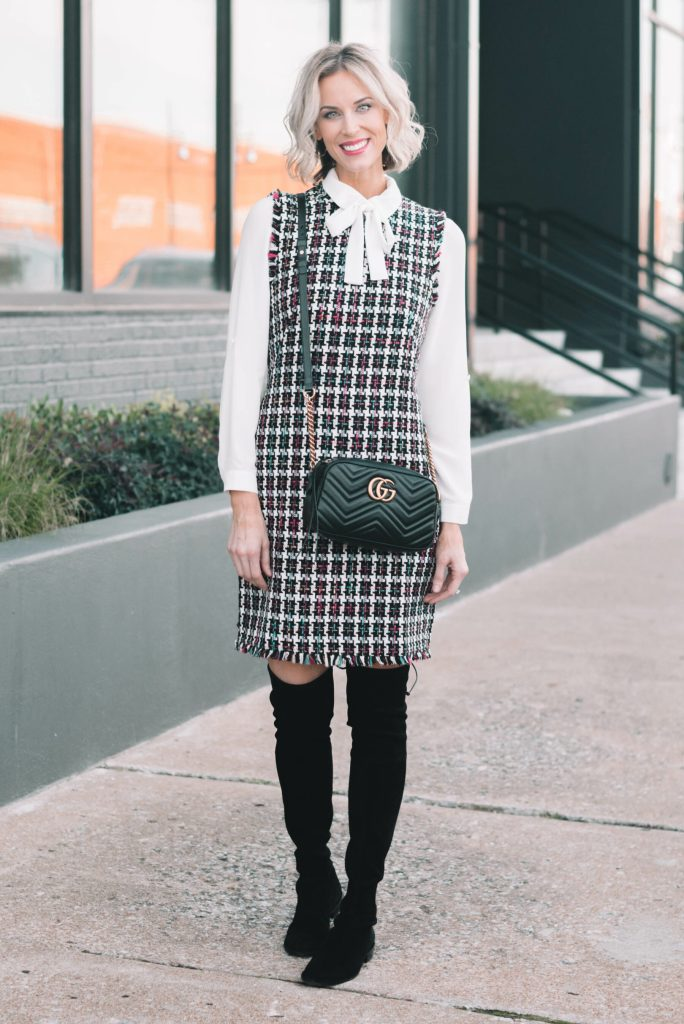 tweed sheath dress with bow blouse