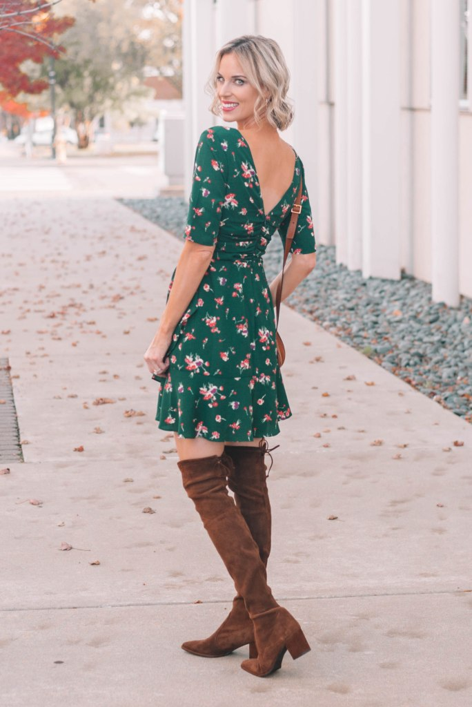 gorgeous green dress with over the knee boots and v back