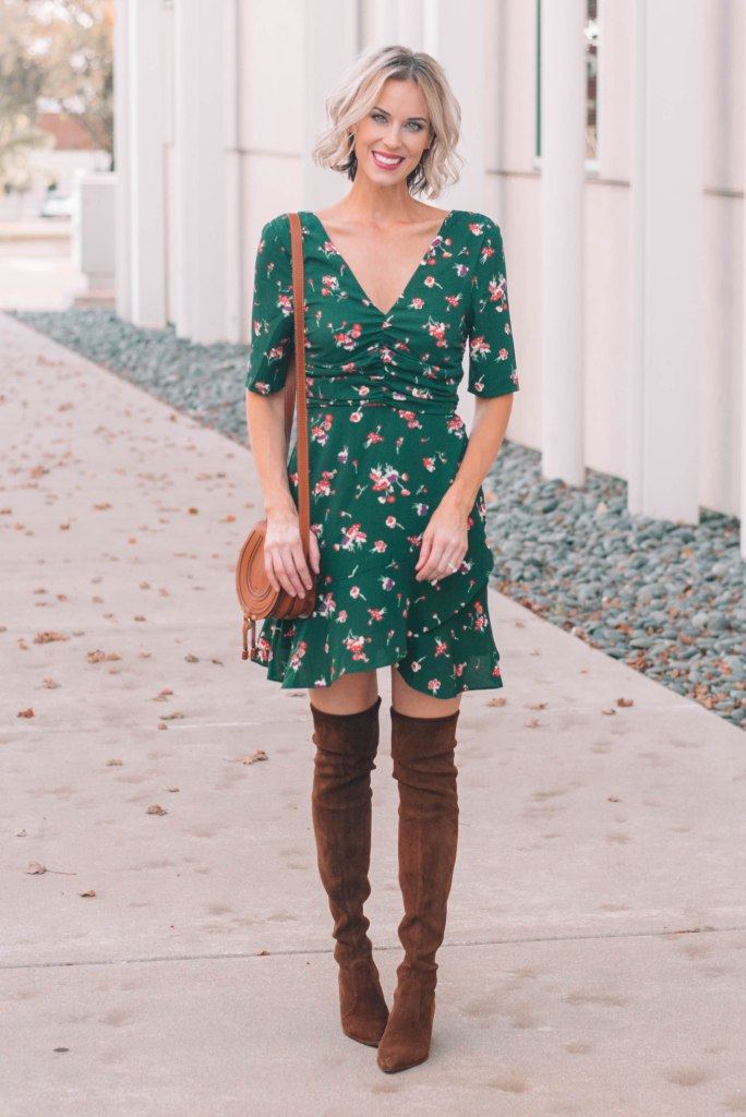Beautiful Green Mini Dress with Over the Knee boots - perfect for holiday party attire