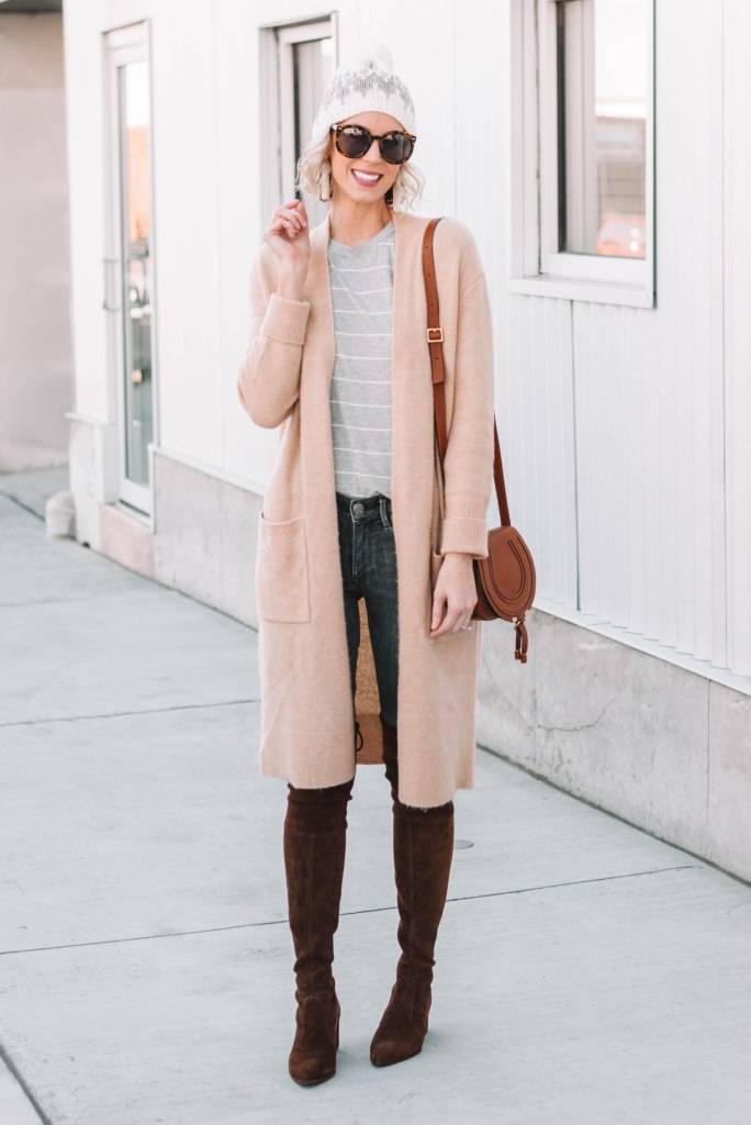 long duster cardigan over jeans and a t-shirt