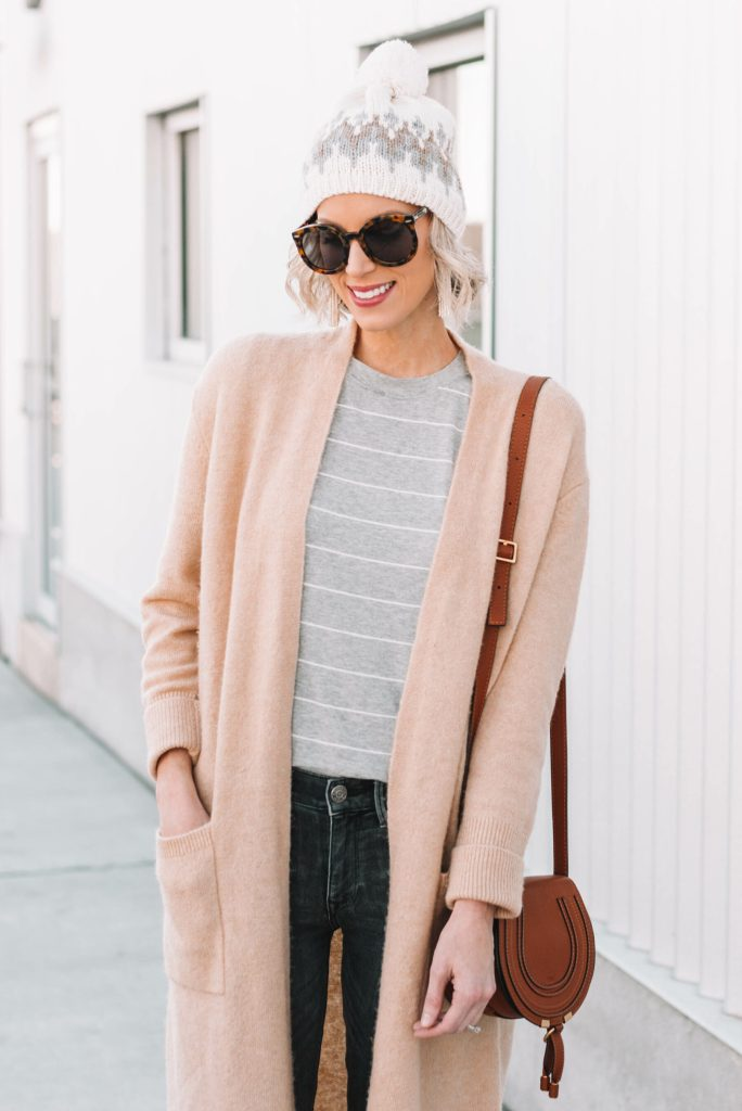 tan duster cardigan paired with grey