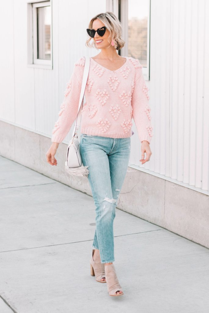 easy fall look, pink heart pom pom sweater