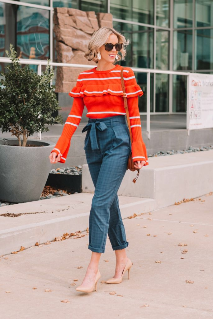 paperbag waist pants with ruffle sweater