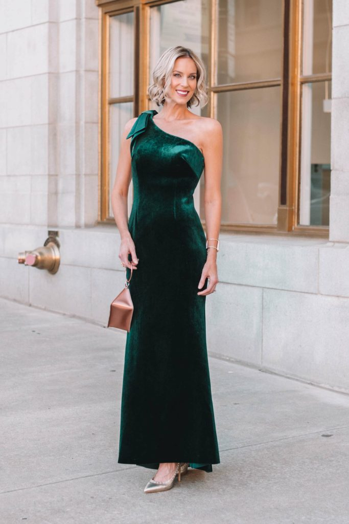 black tie winter formal dress, long velvet one shoulder with bow detail