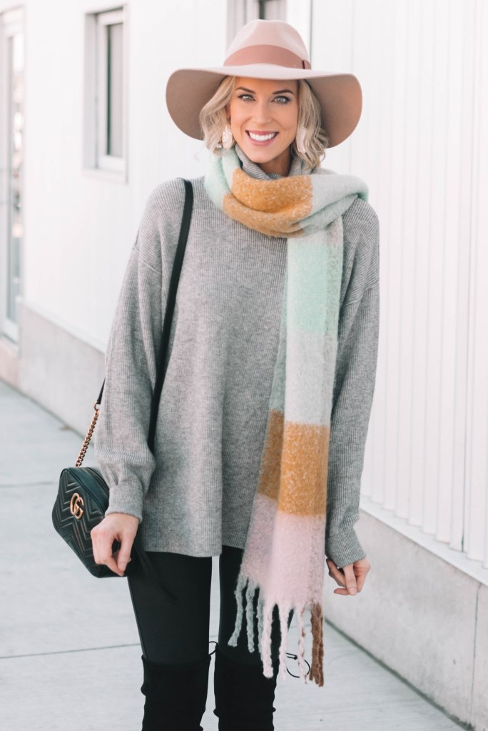 the best tunic sweaters, tunic sweater with leggings, scarf, and hat