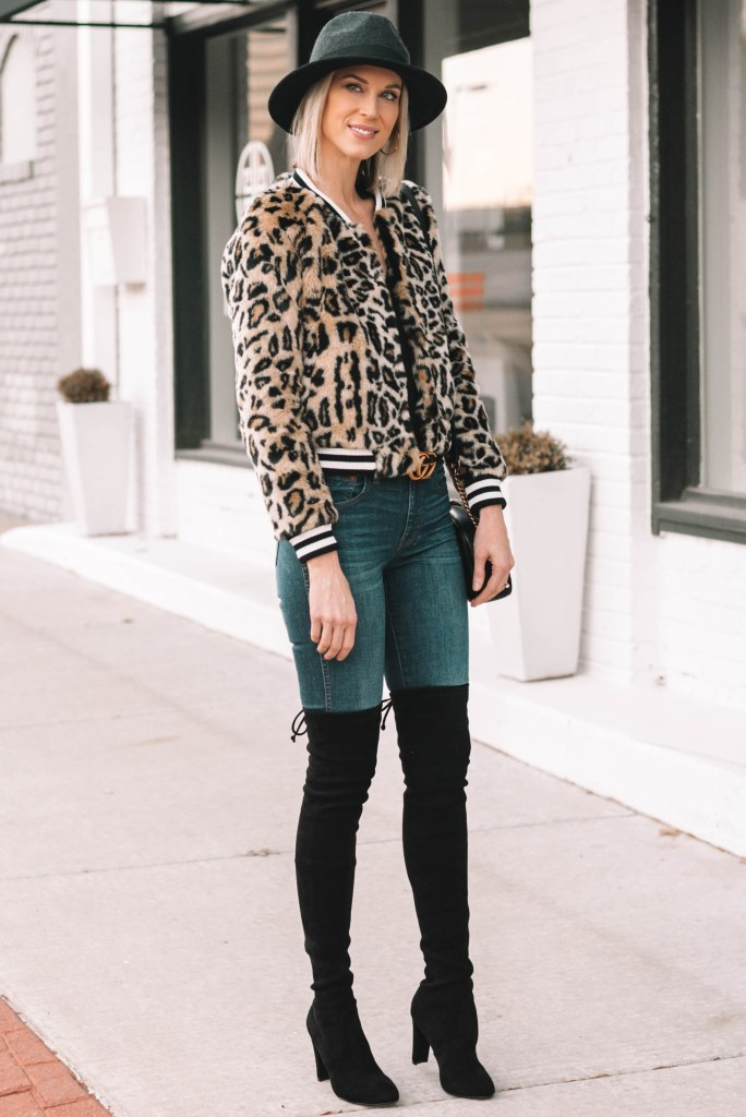 leopard jacket with black heeled over the knee boots for under $100