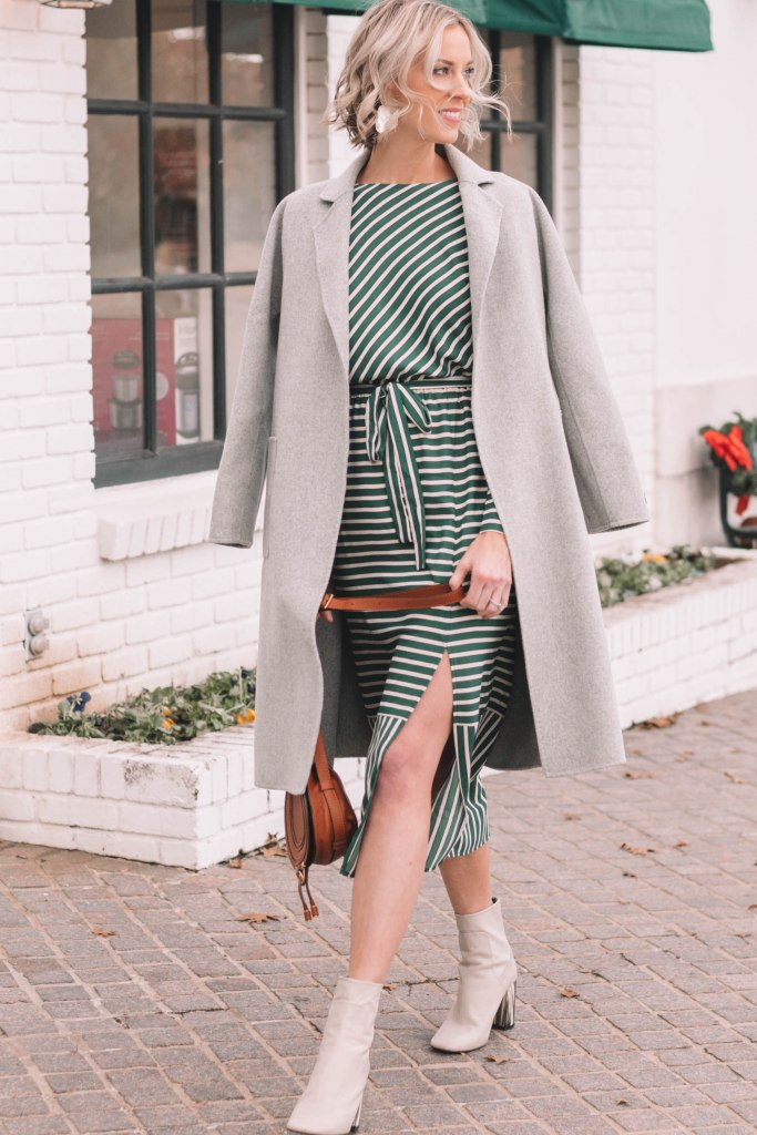 Classic Cashmere Wool Coat styled over a midi dress and boots for winter