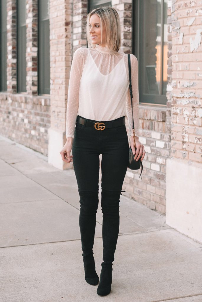 ultra flattering bodysuit with black jeans and black over the knee boots