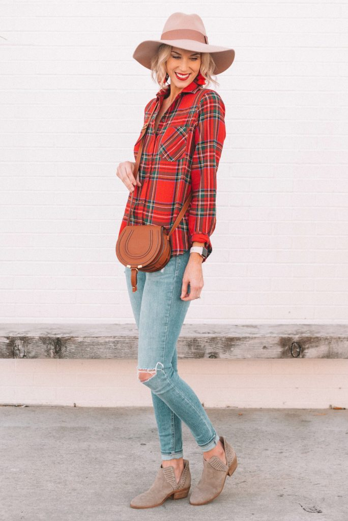 red flannel shirt and accessories