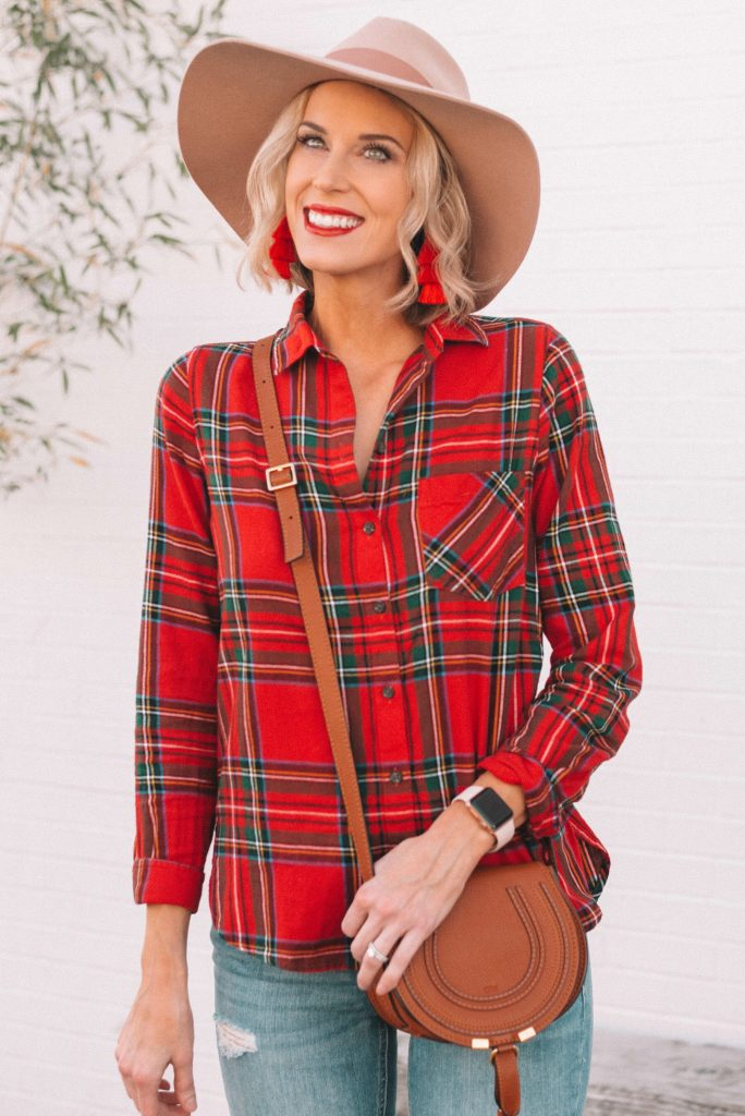 adorable red flannel shirt perfect for a casual holiday outfit