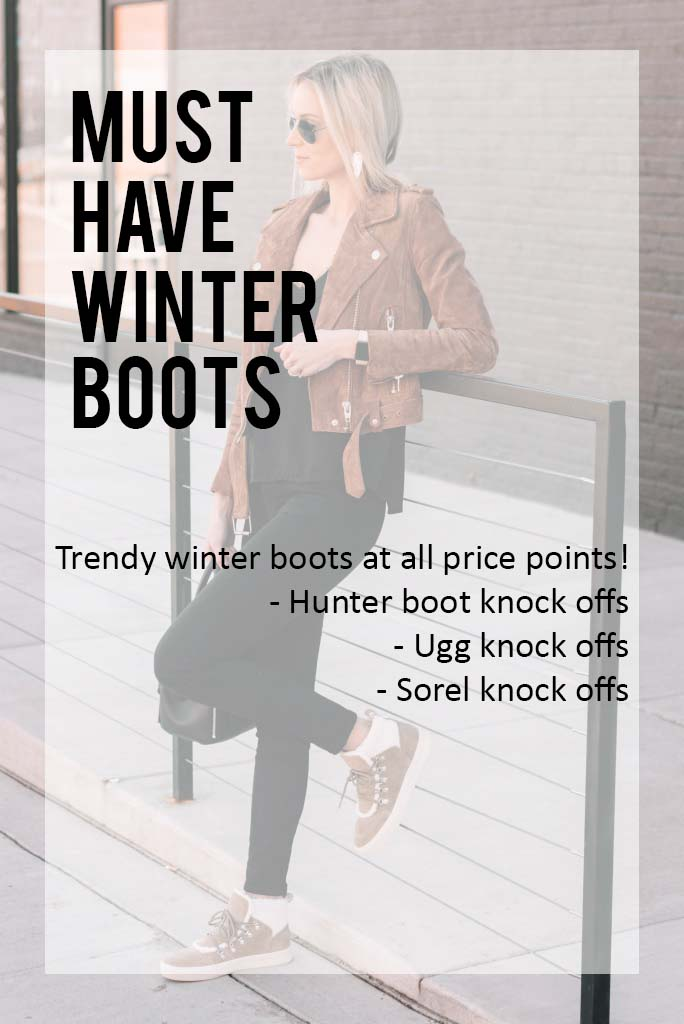 must have winter boots at all price points, affordable winter boots, knock off Uggs, knock off Hunter boots, knock off Sorel boots