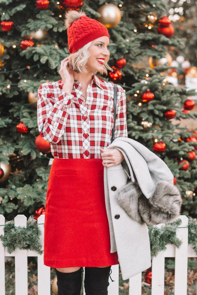 adorable dressy holiday outfit, red skirt, red and white plaid shirt, red beanie, Christmas tree