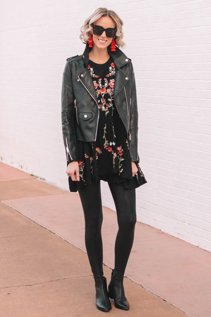 how to style leather leggings with a tunic top