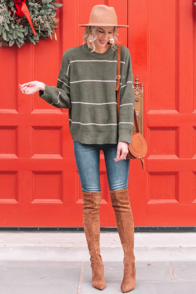 cute and casual holiday outfit, green striped sweater with brown accessories