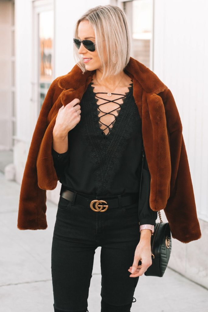 black lace up blouse with straight bob hair