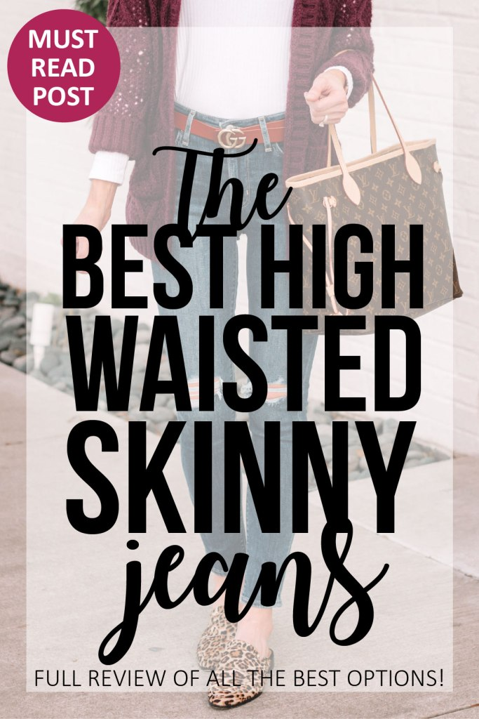 the best high waisted skinny jeans, post reviewing all the best non-designer high rise skinny jeans, details on size, fit, quality, and more with photos of all of them #denim #skinnyjeans #jeans #highrisejeans #highwaistedjeans
