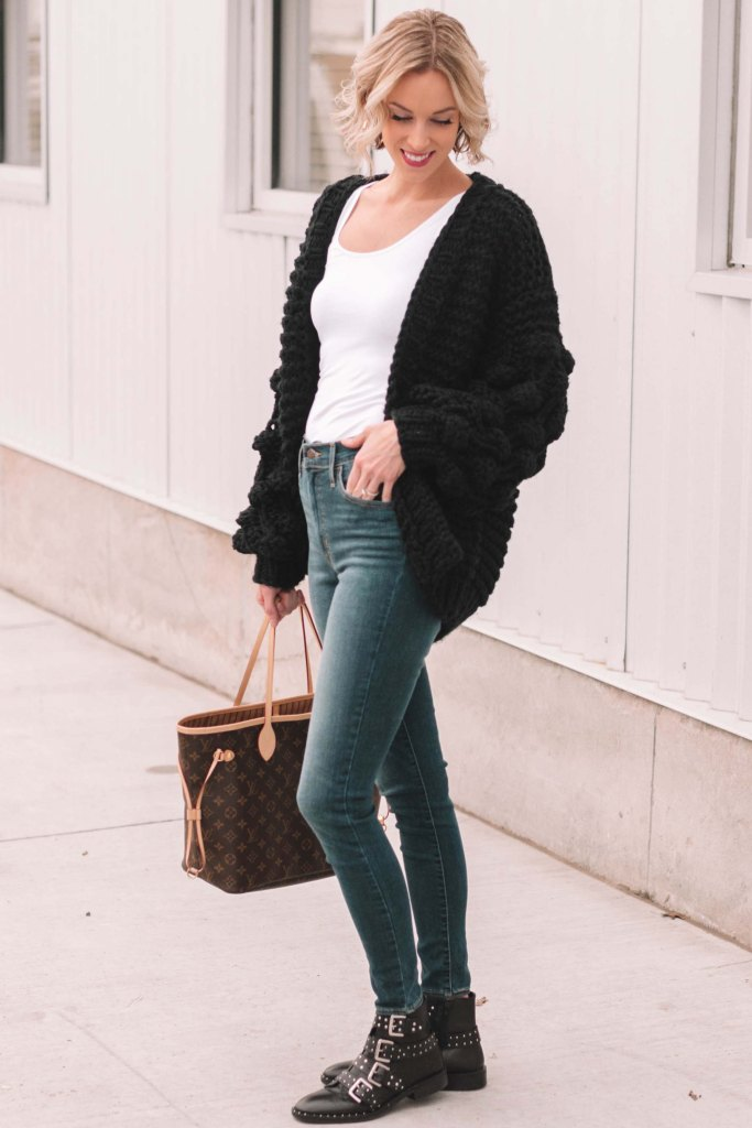 casual cute winter look, cardigan and jeans
