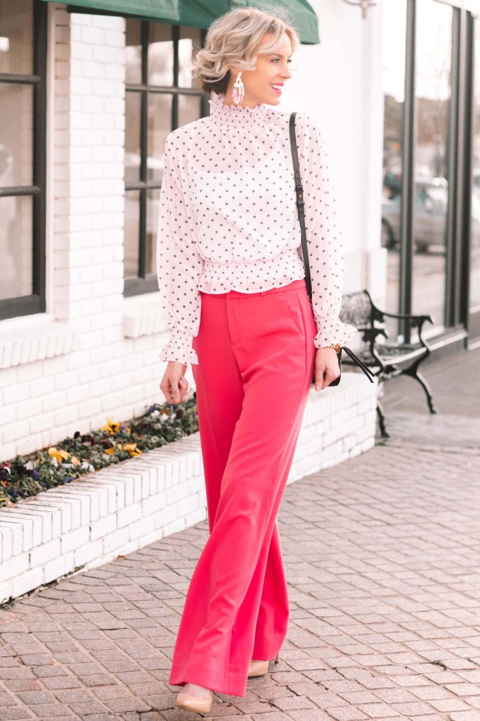 what to wear to work in the winter, winter work outfit idea, pink trouser pants