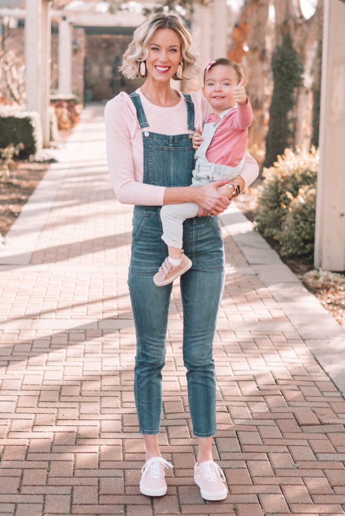 mother daughter matching in overalls