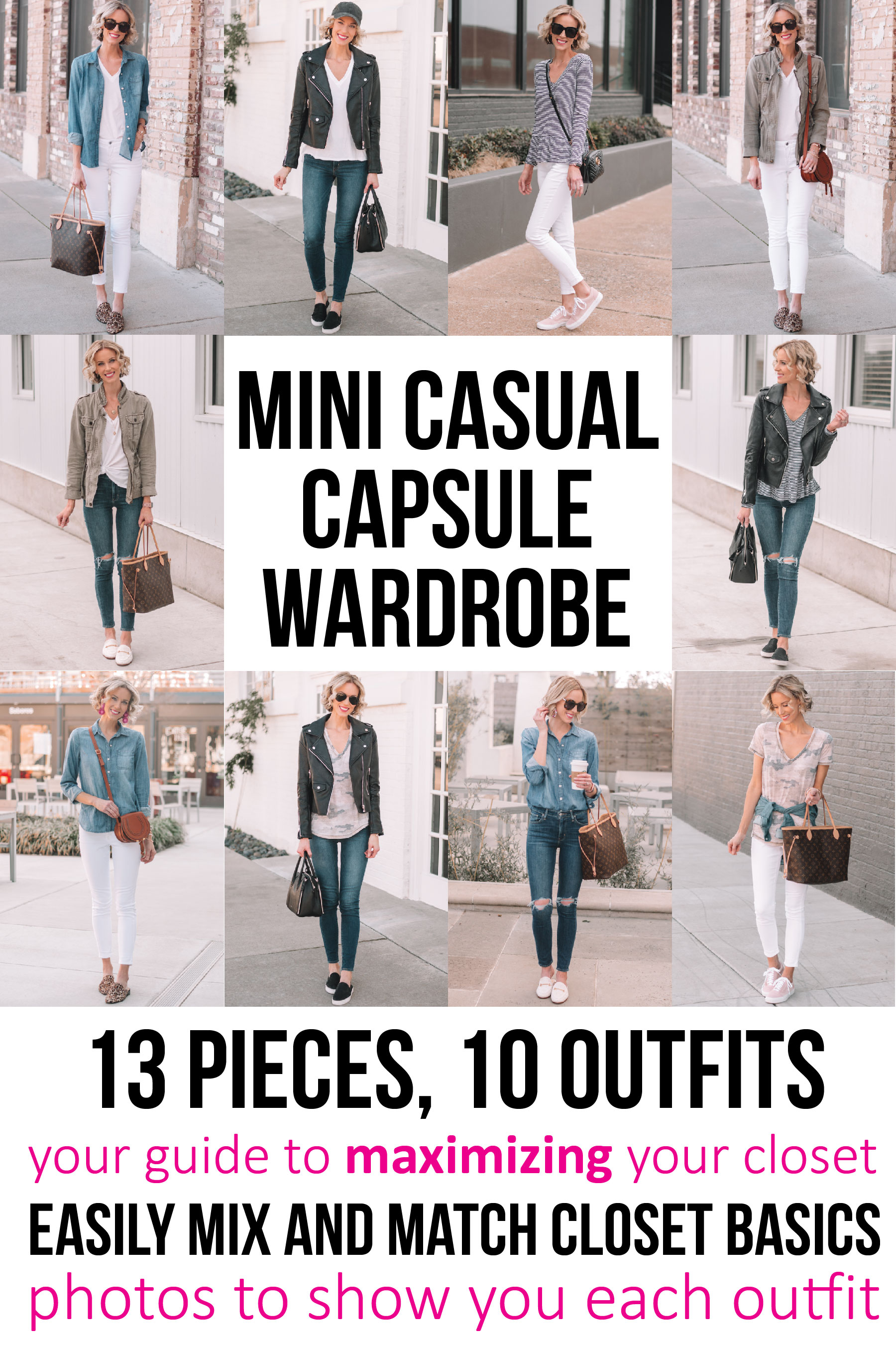 daa2f57b52f4 mini casual capsule wardrobe - 13 pieces, 10 outfits, post with everything  you need ...