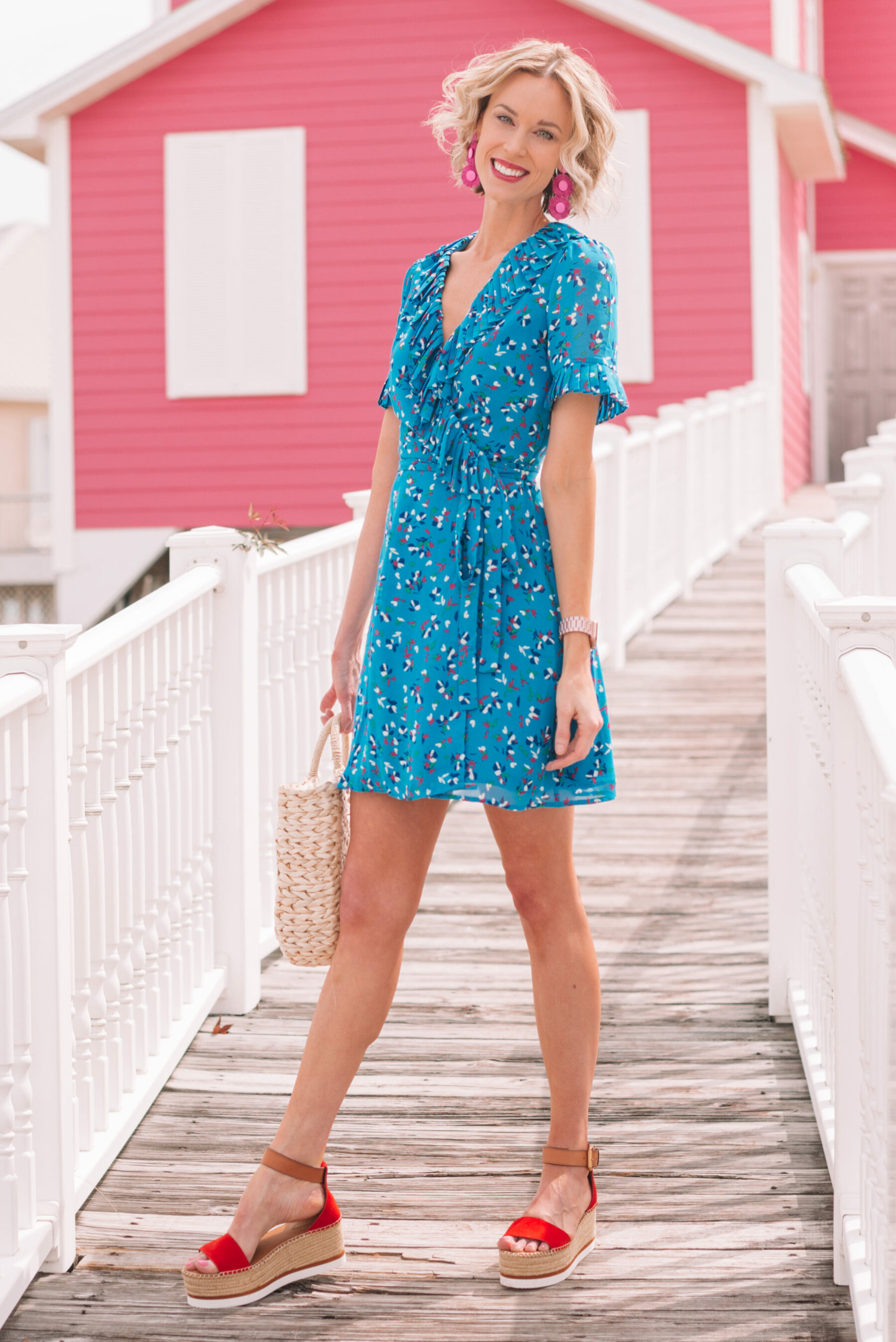 c1773e98375b6 little blue wrap dress adorable blue wrap dress for spring and summer with  red platform sandals