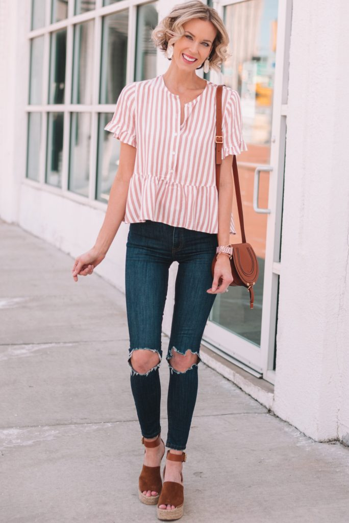adorable peplum top for spring with the most comfortable espadrille wedges - perfect spring outfit