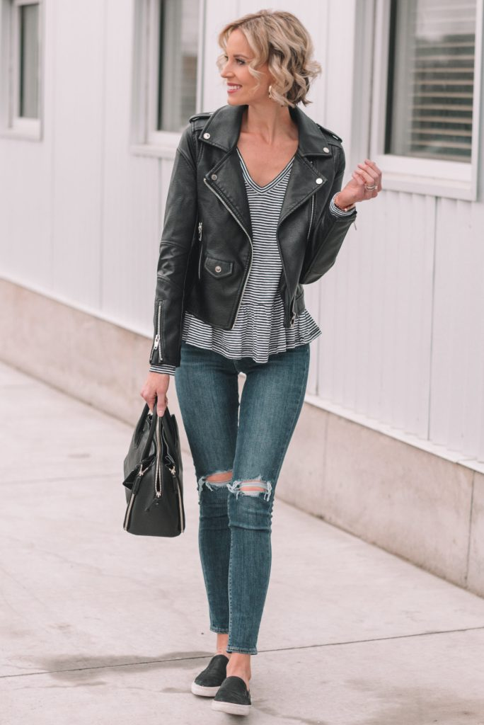 mini casual capsule wardrobe, 13 pieces, 10 outfits - skinny jeans, striped peplum shirt, black leather jacket
