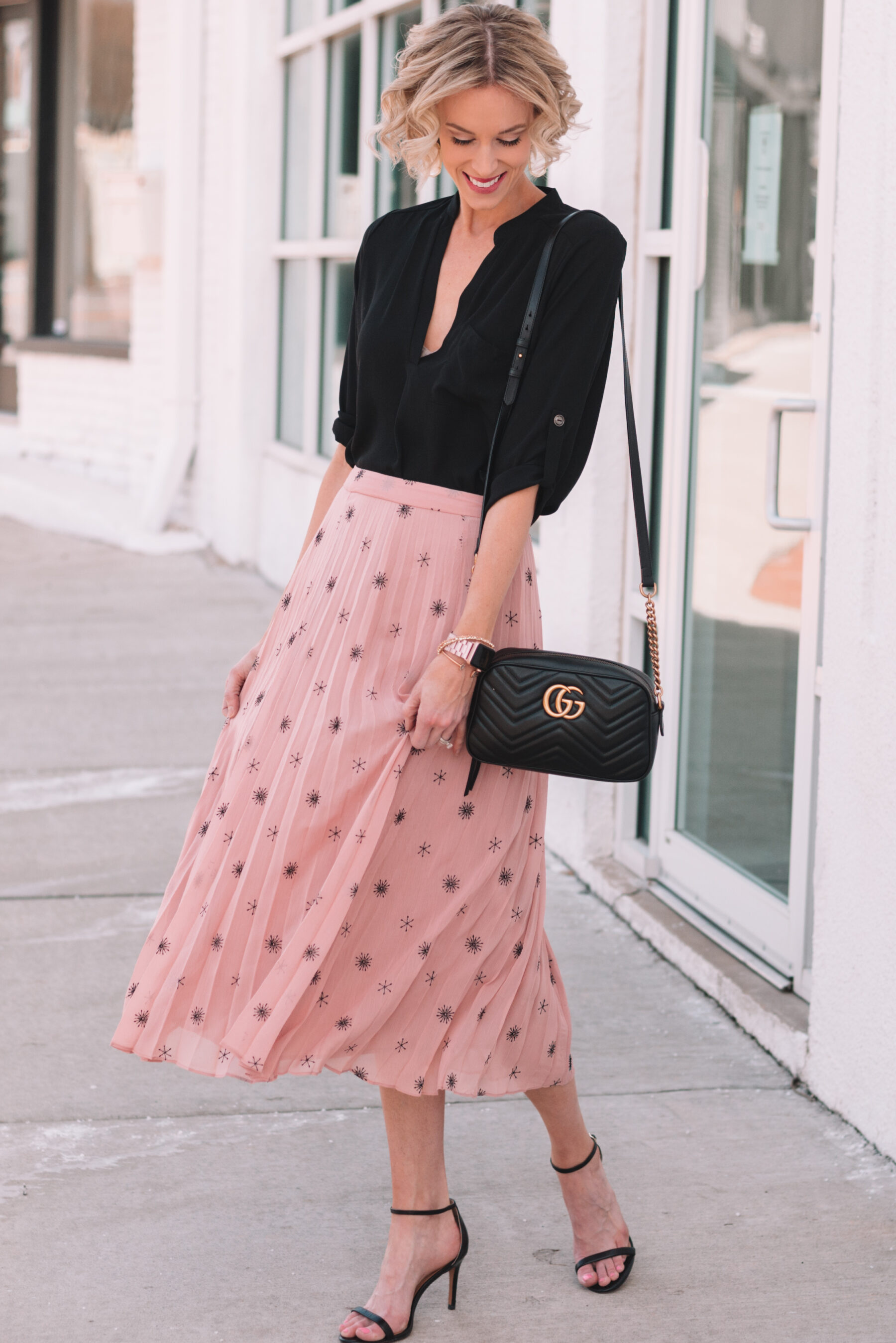 152926acd62 midi skirt obsession, gorgeous blush embroidered midi skirt paired with  black tunic top for spring ...