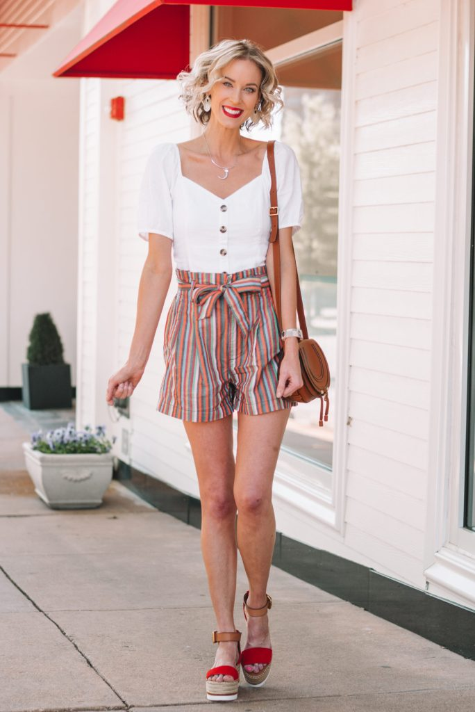 rainbow stripe paperbag waist shorts and white button front top