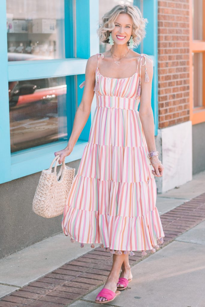adorable striped midi dress with tie shoulders and tassel details