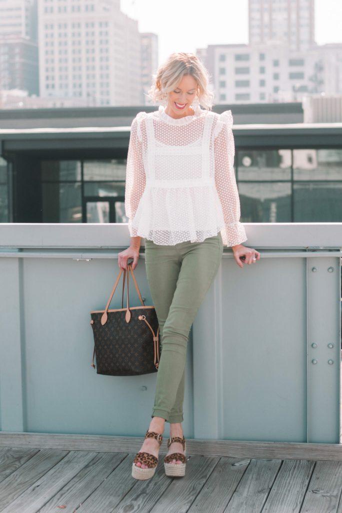 olive jeans, white lave blouse, leopard sandals