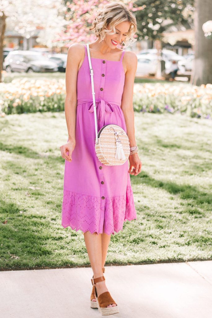 gorgeous $40 purple midi dress for spring and summer #mididress #summerdress #affordablefashion