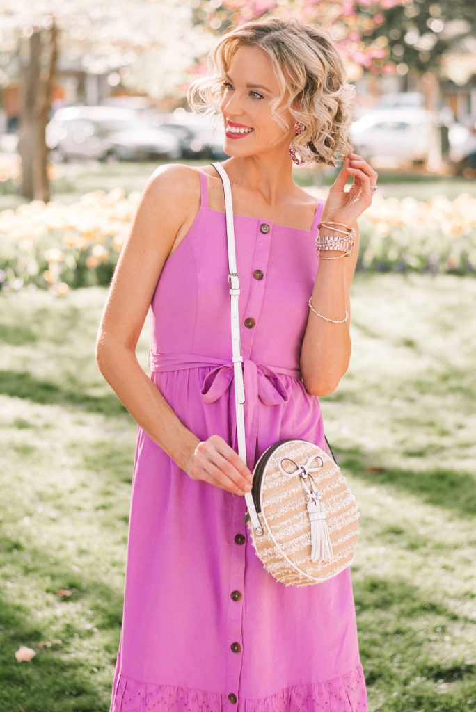 button front dress, circle bag, straw bag, woven bag, summer trends