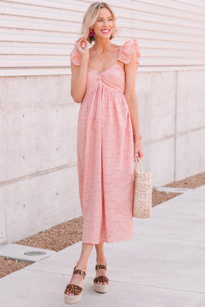 pink eyelet flutter sleeve dress